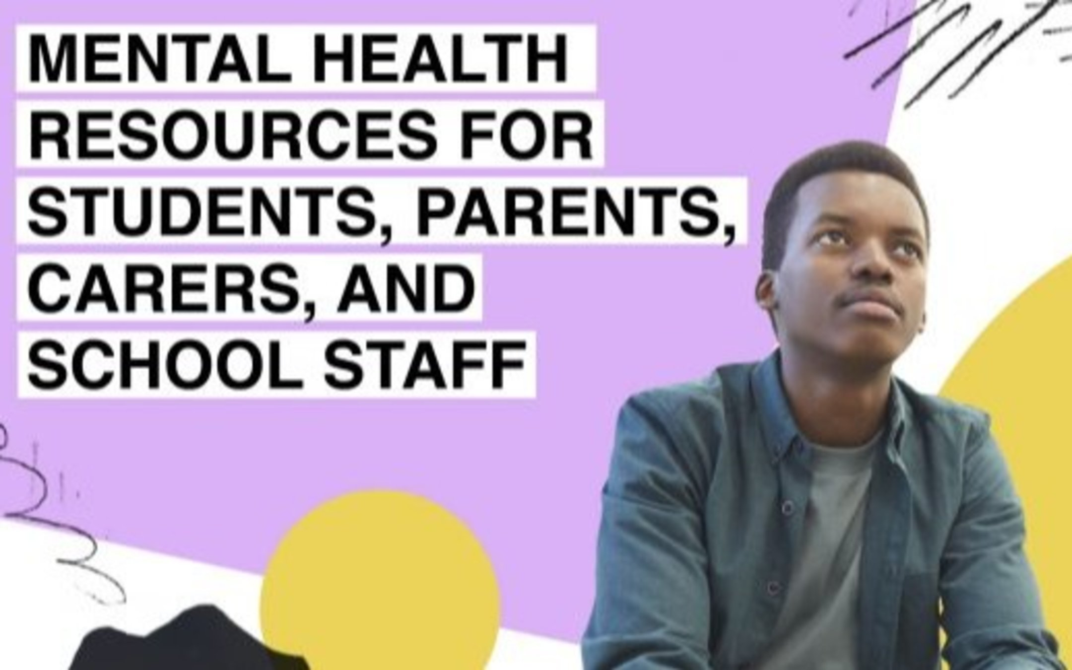 Image of man under 'mental health resources for students, parents, carers and school staff' title