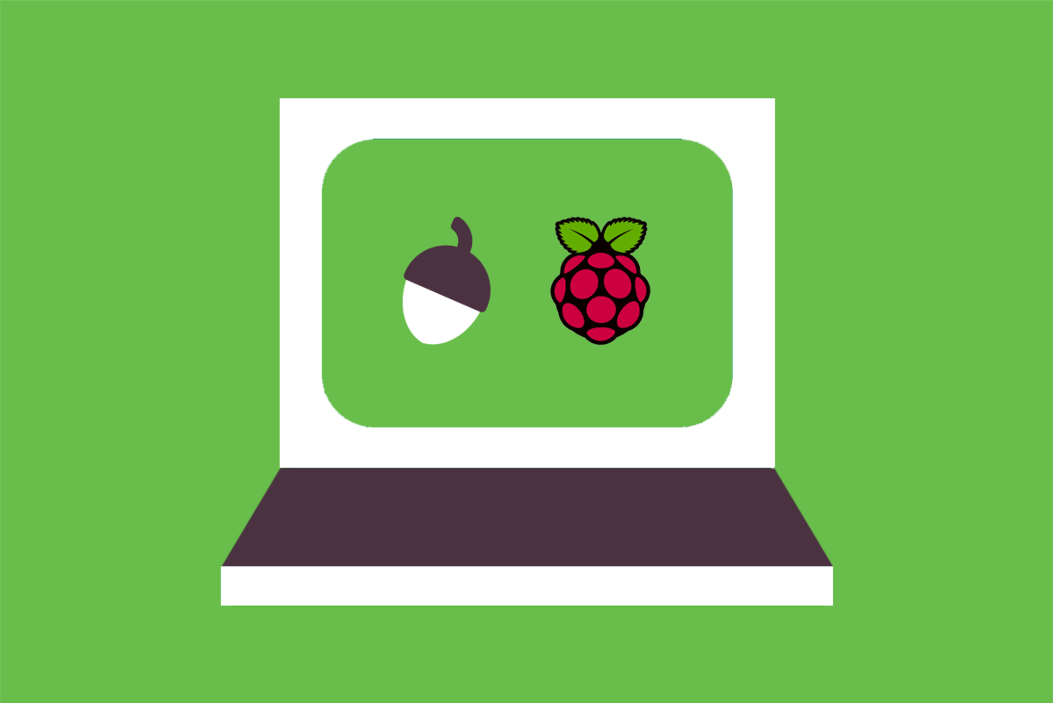 A laptop with Oak's acorn and Raspberry Pi logo on its screen.